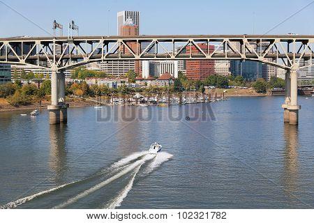 Portland Skyline With Marquam Bridge