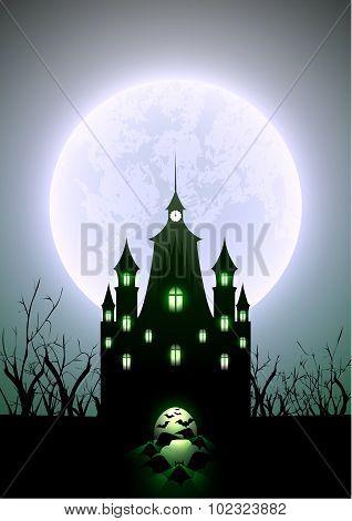 Halloween Illustration Full Moon And Haunted Castle