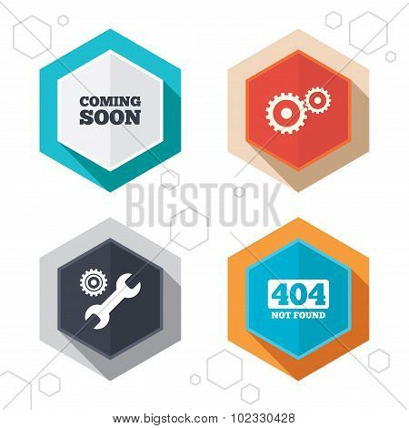 Hexagon buttons. Coming soon icon. Repair service tool and gear symbols. Wrench sign. 404 Not found. Labels with shadow. Vector poster