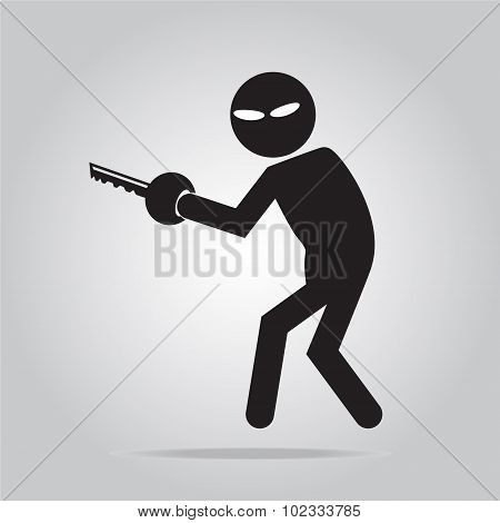 Hacker Internet security concept. Thief icon symbol illustration poster