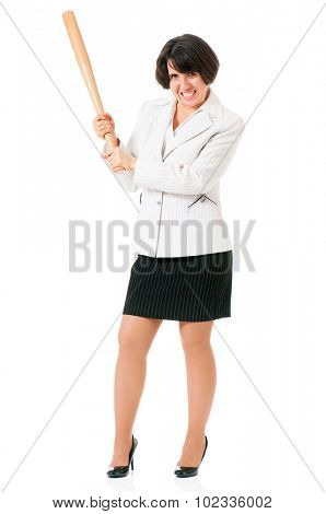 Anger business woman in suit with wooden baseball bat, isolated on white background poster
