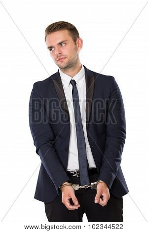 Businessman With Both Hand Handcuffed
