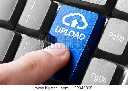 Hand Press Upload Button On Keyboard