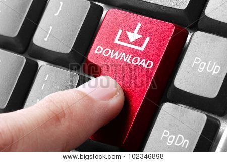 Hand Press Download Button On Keyboard