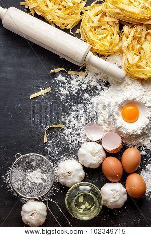 Italian Homemade Fettucine And Ingredients