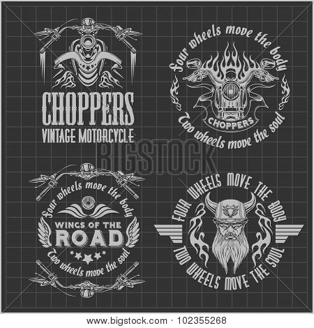 Vintage motorcycle labels, badges and design elements on dark background