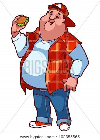Fat Happy Man With A Big Belly And A Hamburger In His Hand