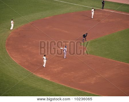 Rangers Mitch Moreland Takes Lead From Second Base With Infield Playing Back
