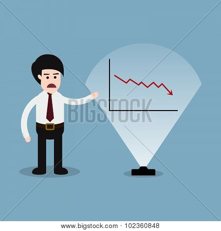 Stock Crisis With Business Man Presentation And Graph