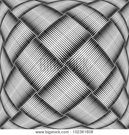 Abstract textured geometric background. Checked and striped pattern. Vector art.