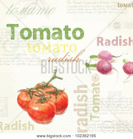 Kitchen art. Watercolor vintage tomato