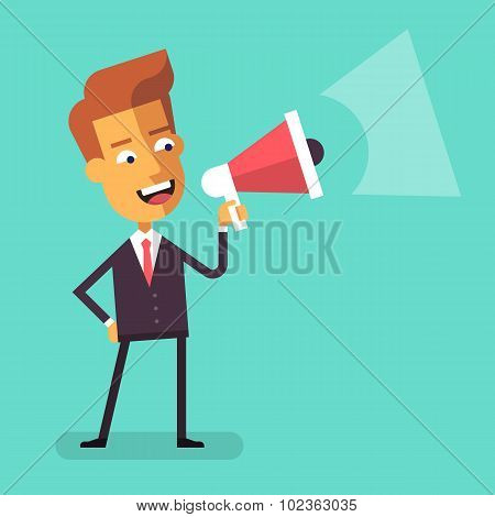 Businessman shouting into megaphone. Flat design.