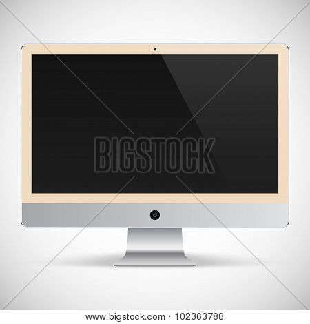 Realistic Detailed Biege Monitor With Black Screen Isolated On A Gray Background