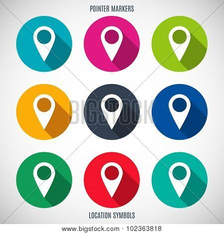 Set Of Markers And Pointers Icons For Map In The Style Flat Design Different Color