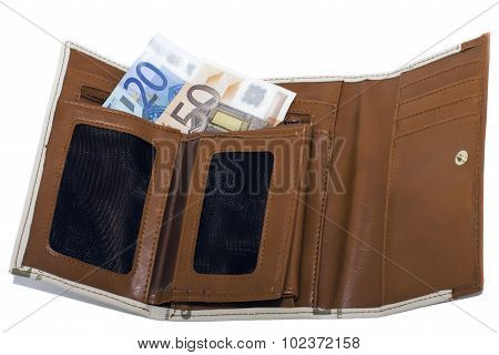 wallet, bright orange and a little bit of money on the white bac