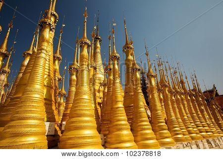 Shwe Inn Thein pagoda at Indein village Inle Lake Myanmar
