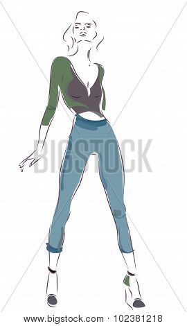 Modern Woman with Jeans
