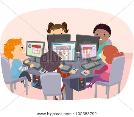 Stickman Illustration of Kids Using Computers