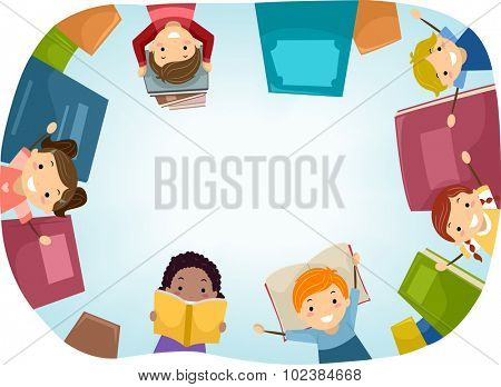 Top View Stickman Illustration of Kids Surrounded by Books