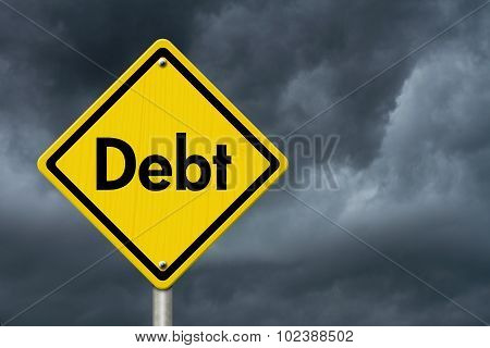 Debt Warning Road Sign