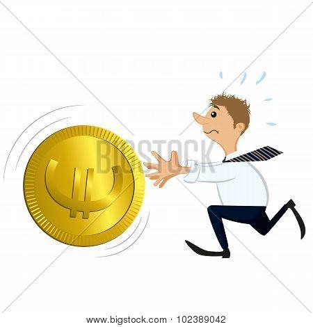 Man Catching A Big Coin