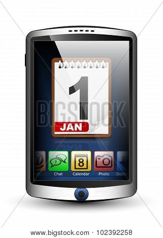 Smartphone With Menu And Calendar Icon On The Big Touch Screen. Vector Illustration