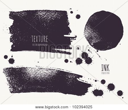 Ink Texture. Silhouette shape painted with brush on a wet watercolour paper.
