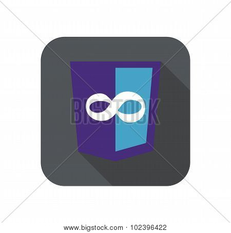 vector web development shield sign - code editor infinity. isolated icon on white