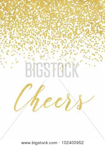 New Year design with golden foil confetti and lettering