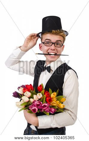 Smiling gentleman with flowers isolated on white poster