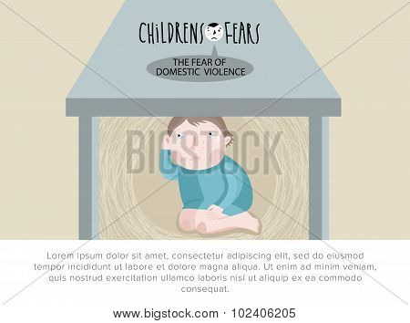 Children's fears. Fear of domestic violence. Vector illustration. poster
