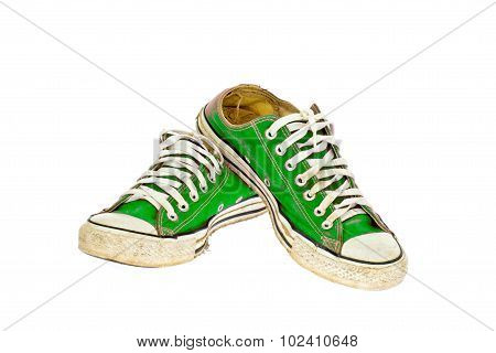 Vintage Green Shoe On White  Background