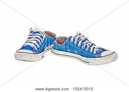 Vintage Blue Shoe On White  Background
