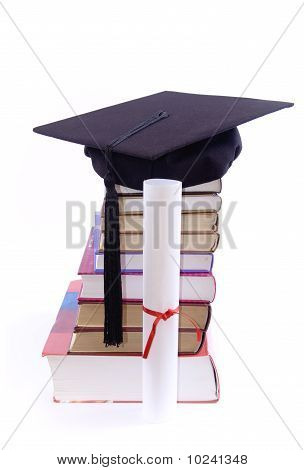 Book Tower With Student Hat