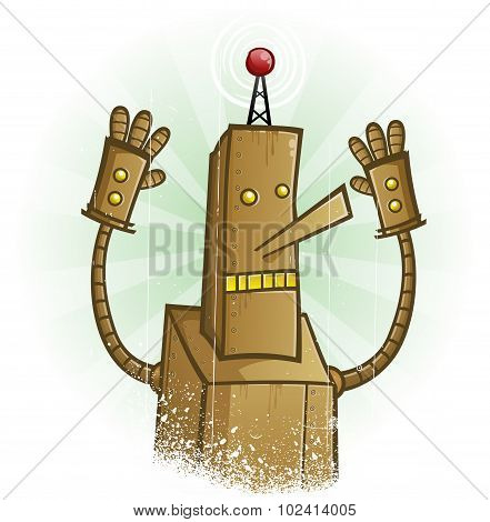 Robot Panic Cartoon Character
