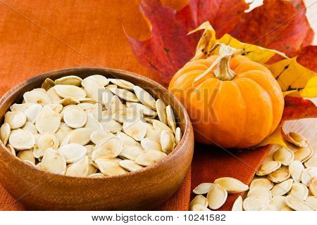 Horizontal Image Of Pumpkin Seeds With Copy-space
