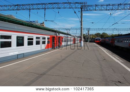 Moscow, Russia, September 19 2015. One train cost(stand)s near platforms in expectation of passenger