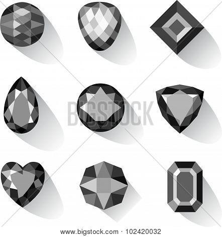 Set of greyscale, black gems isolated on white background, vector illustration poster