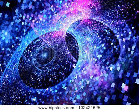 Blue Glowing Multiverses In Space