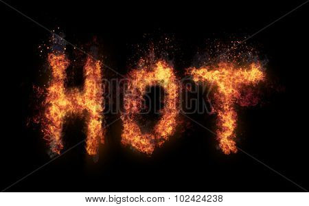 Hot concept with flaming text with fiery orange flames and tendrils of heat forming the letters - Hot - on a textured dark background with copyspace