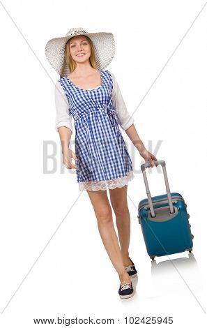 Woman ready for summer travel isolated on white