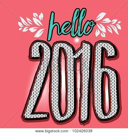 Hello 2016 - New Year Graphic design - knitted pattern