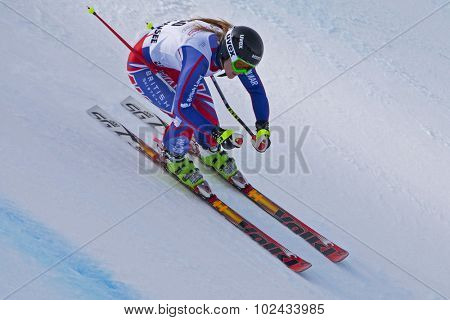 ZAUCHENSEE AUSTRIA. 09 JANUARY 2011. Pam Thorburn (GBR)  speeds down the course while competing in the super giant slalom race (Super G) part of FIS Alpine World Cup, in Zauchensee Austria.