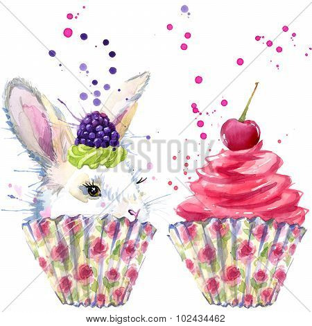 White rabbit and dessert with whipped cream T-shirt graphics, rabbit and dessert illustration with s