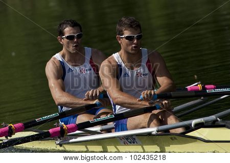 HENLEY, ENGLAND. 03-07-2010.  C. Berrest & J. Bahain, FRA  in action on day 4 of the Henley Royal Regatta 2010 held on the River Thames.