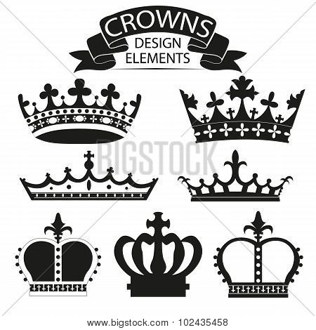 crown collection isolated on white vector illustration