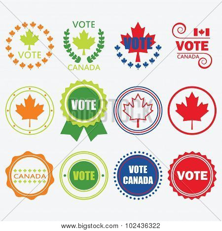 Red blue orange and green Vote Canada emblems and design elements set
