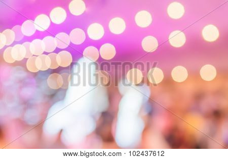 Many People At A Wedding Ceremony In Large Hall.
