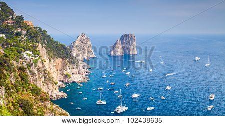 Coastal Landscape With Famous Rocks Of Capri Island