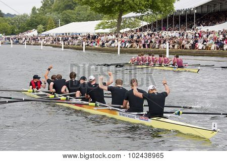 HENLEY, ENGLAND. 04-07-2010.  Hansa Dortmund, GER winners of theThe Grand Challenge Cup  on day 5 of the Henley Royal Regatta 2010 held on the River Thames.
